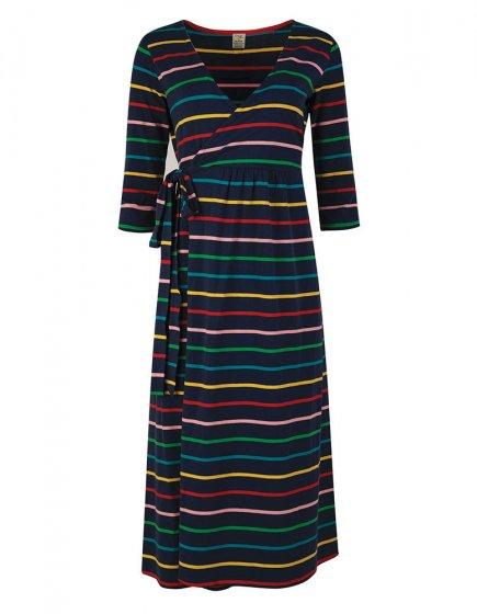 Frugi Adult Indigo Rainbow Stripe Rico Wrap Dress