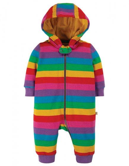 Frugi Foxglove Rainbow Stripe Snuggle Suit