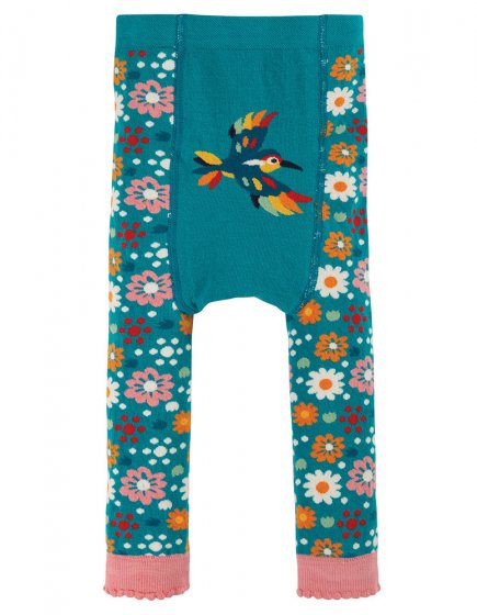 Frugi Loch Blue Flowers Little Knitted Leggings