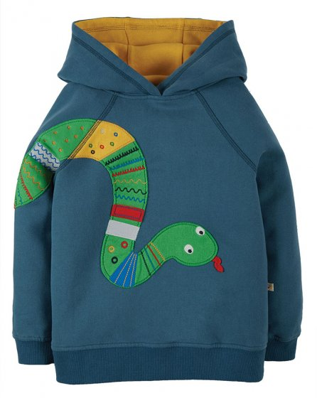 Frugi hedgerow applique snake blue hoodie with yellow lining