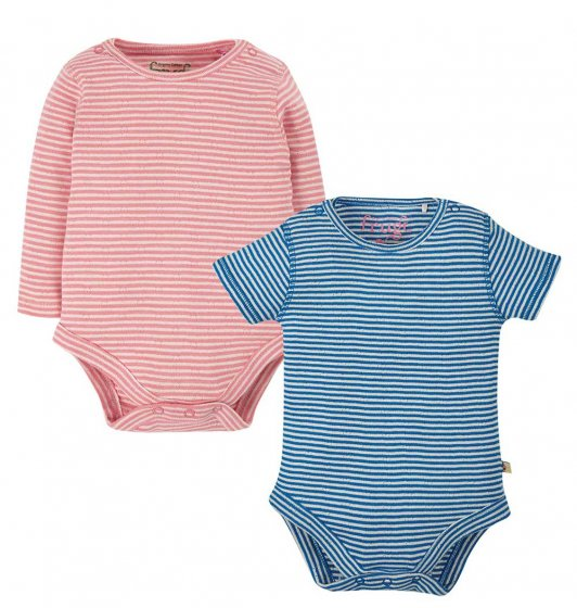 frugi two pack body, pointelle stripe pink and blue, one long and one short sleeve