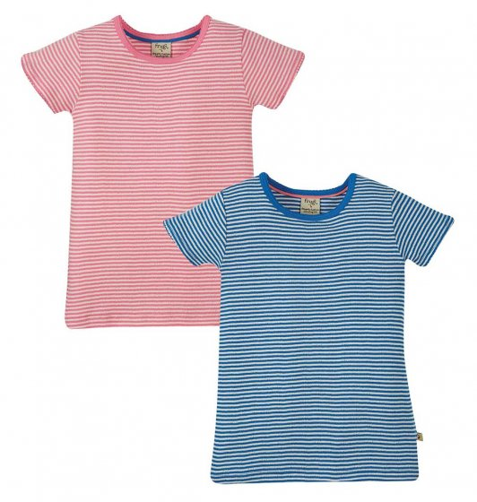 Frugi 2 pack striped pointelle tshirts in blue and pink stripes
