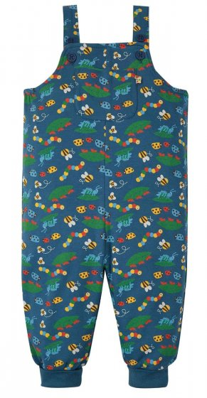 Frugi Parsnip dungarees bug life blue organic cotton with bees and ant print