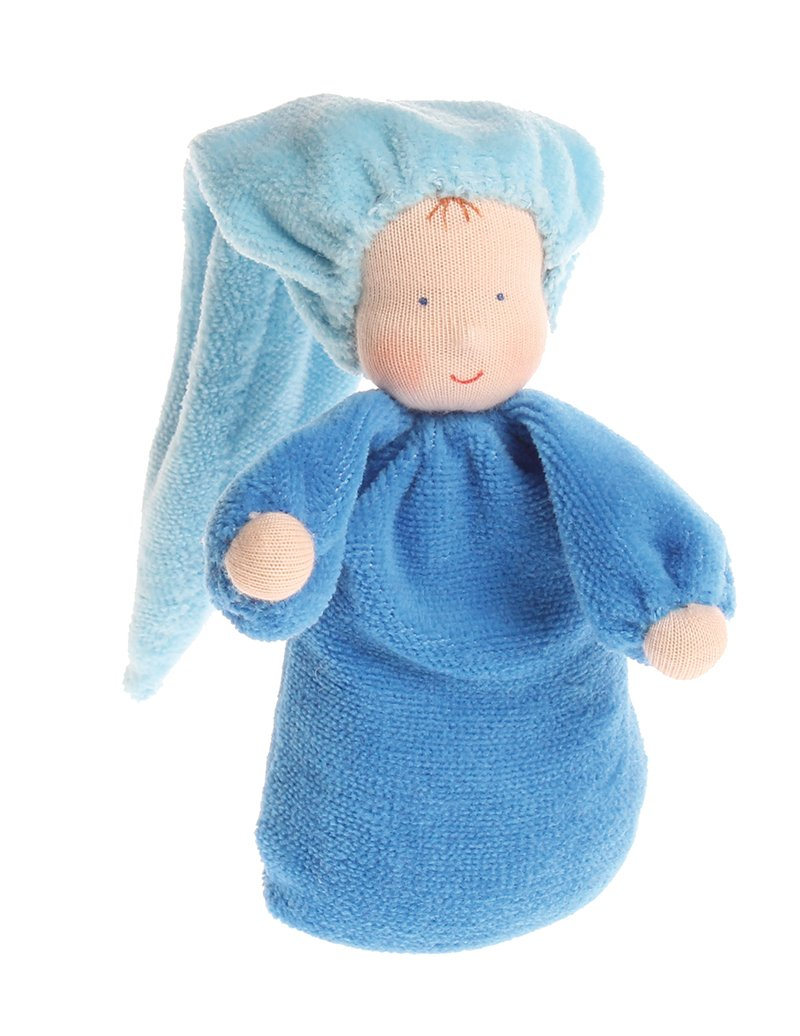 NEW Waldorf Inspired Doll Soft Cloth Stuffed With teether ring Toy Gift Blue