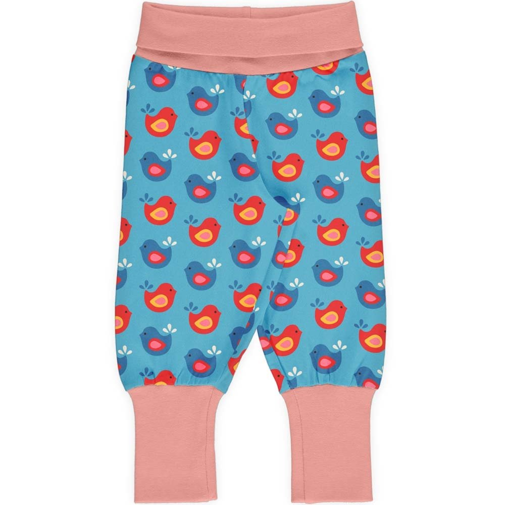 Maxomorra Baby Pants Rib Bright Birds