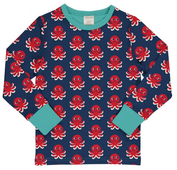 Picture of the kids octopus pattern top (front view). Picture background is white.