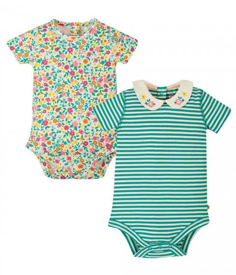 Frugi ditzy floral pretty peter pan collar 2 pack bodies
