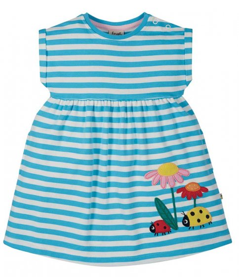 Frugi Fliss Applique Dress - stripe blue and white with ladybirds