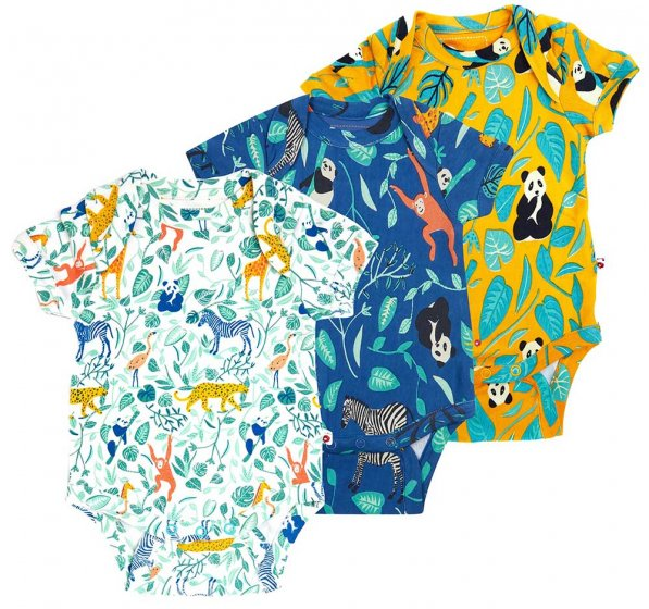 Piccalilly Animal Adventure 3 Pack Baby Bodysuits