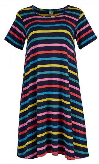 Frugi Naomi rainbow stripe dress maternity