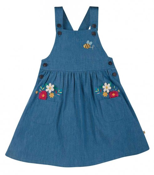Frugi Perfect Pocket Pinafore toddlers baby dress bee embroidery