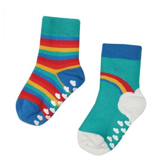 Frugi grippy 2 pack socks pacific aqua rainbow