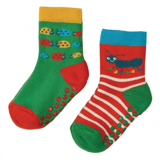 Frugi grippy 2 pack socks ladybird