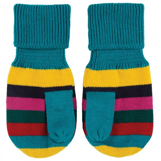 Frugi Tobermory Teal Stripe Merry Knitted Mittens