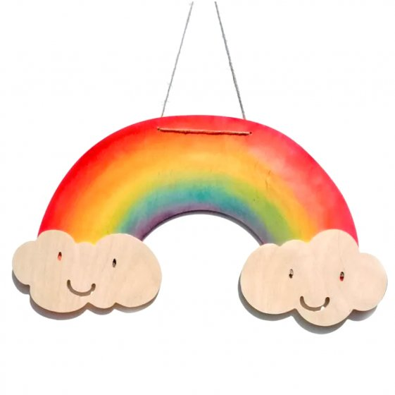 Hellion Toys sustainable handmade wooden Rainbow wall hanging on a white background