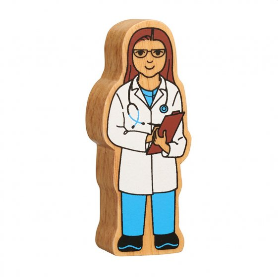 Lanka Kade sustainable wooden doctor character toy on a white background
