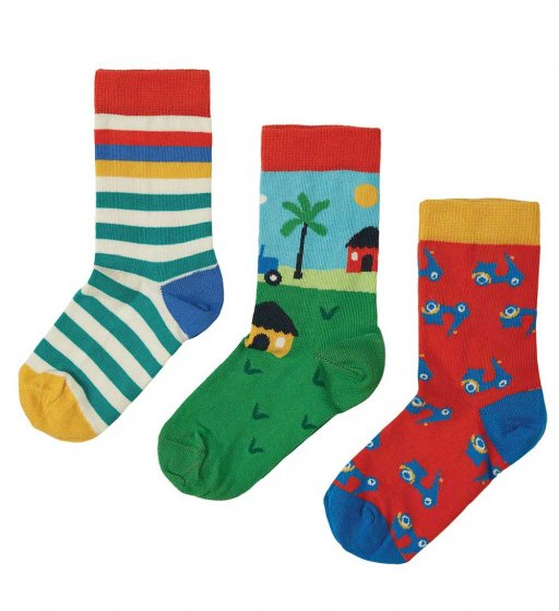Frugi Rock my socks tractor multipack