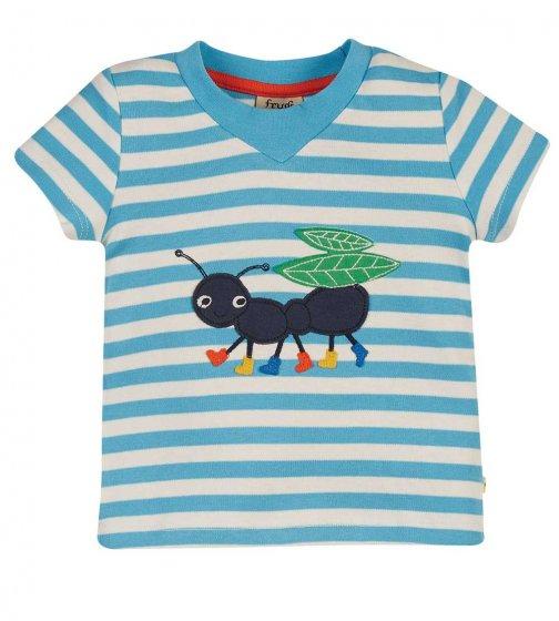 Frugi easy on stripe ant applique tee