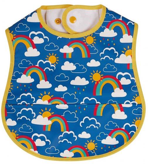 Frugi Rainbow Skies spill proof baby bib