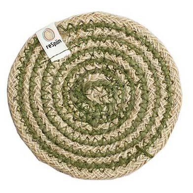 ReSpiin Spiral Jute Natural / Green Coaster