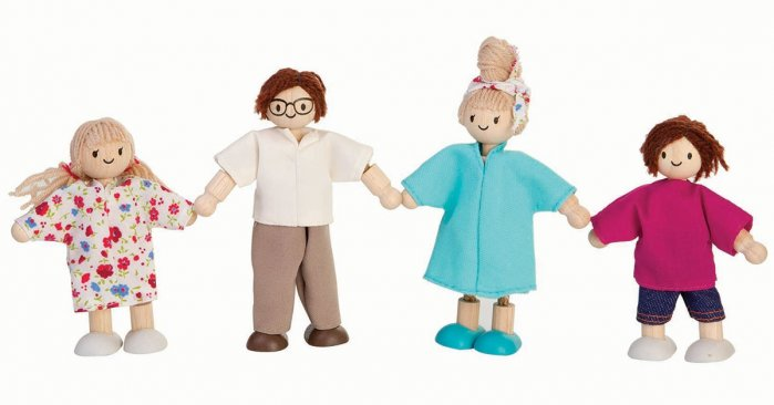 Plan Toys Dolls House Family - White Skin, Brown and Blonde Hair
