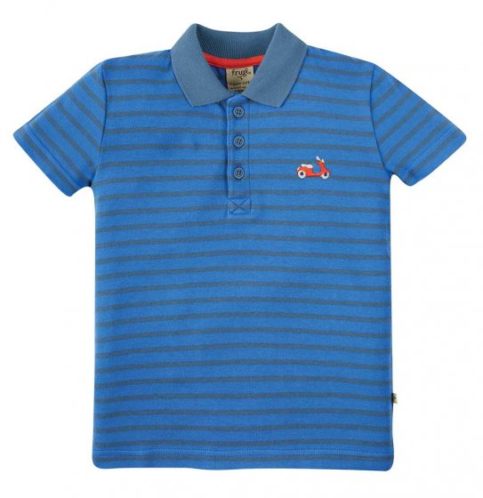 Frugi Porthmeor striped blue polo shirt