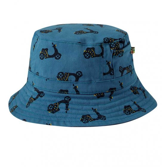 Frugi Ross Reversible blue hat with bikes printed on