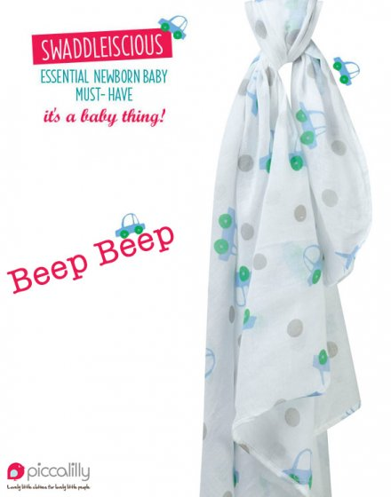 Piccalilly 'Beep Beep' Car Print Muslin Swaddle
