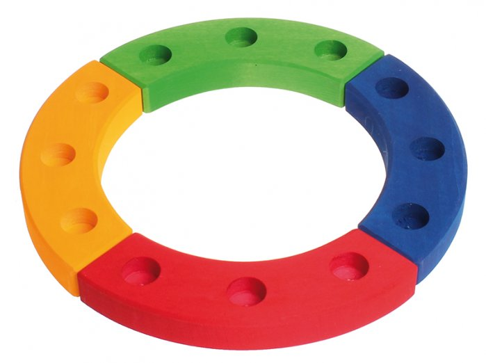 Grimm's 12-Hole Coloured Wooden Ring