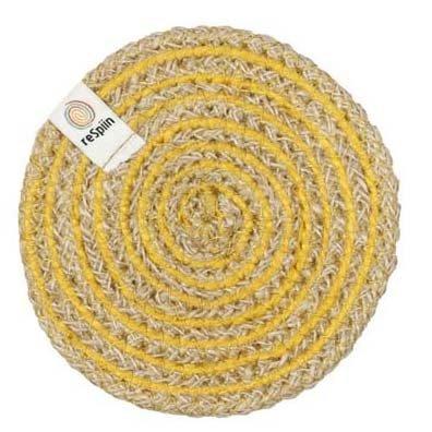 ReSpiin Spiral Jute Natural / Yellow Coaster