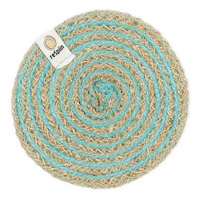 ReSpiin Spiral Jute Natural / Turquoise Coaster