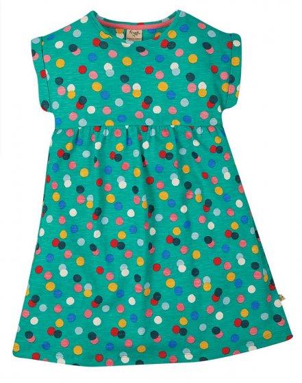 Frugi Faith Slub dress green with multicoloured polka dots