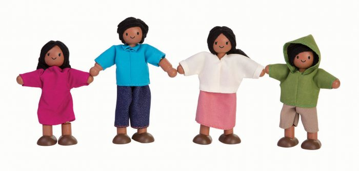 Plan Toys Dolls House Family - Light Brown Skin, Black Hair