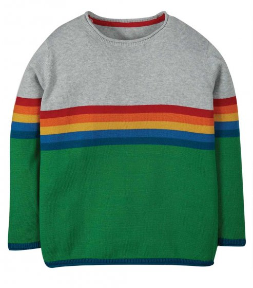 Frugi Kian knitted strip jumper green and grey with rainbow centre