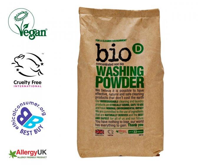 Bio-D eco-friendly washing powder bag on a white background