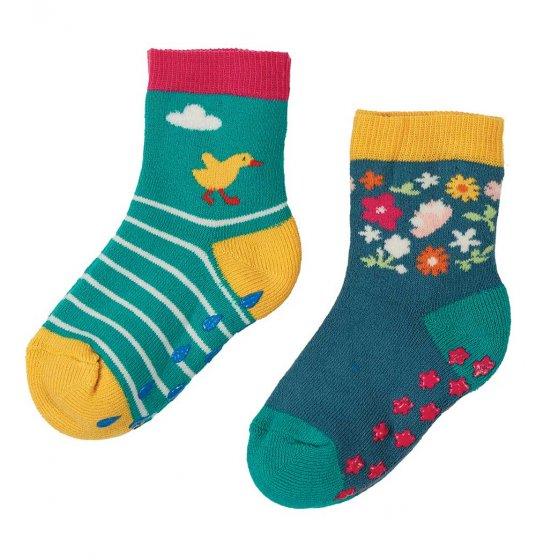Frugi grippy 2 pack ducks socks