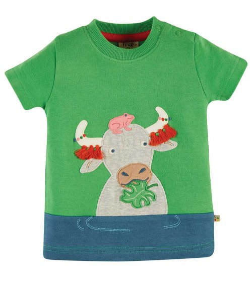 Frugi penryn buffalo applique top of buffalo eating grass with frog on its head