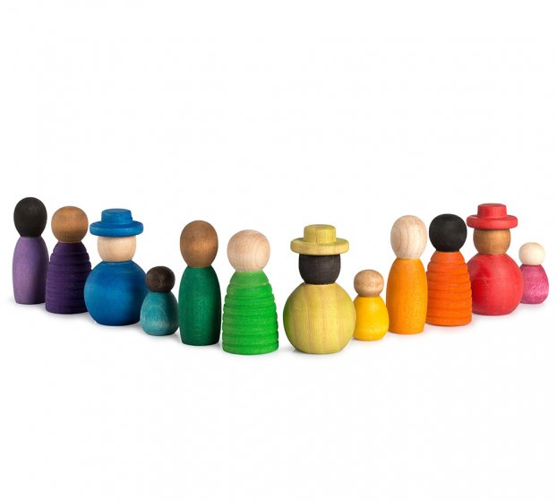 12 Grapat Together toy figures lined up in a chevron on a white background.