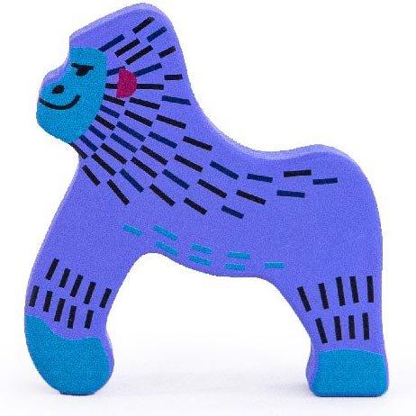 bajo painted purple gorilla wooden toy figure