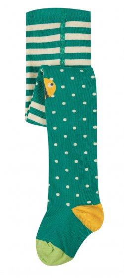 Frugi fun knee tights in jewel green and bee dot design
