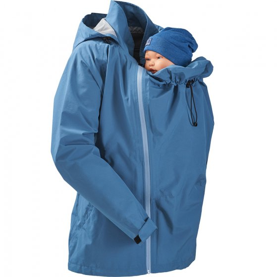 Mamalila Shelter Babywearing Rain Jacket in Vintage Blue. Front view of this technical babywearing rain coat including babywearing insert on a white background