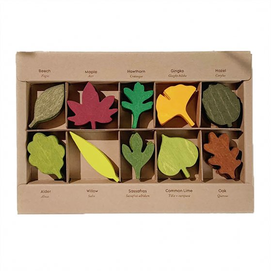 Moon Picnic Woodland Leaf toy set in its box on a white background