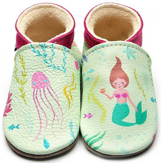 Inch Blue Leather baby shoes Mermaid, green and pink with painted mermaids and jellyfish