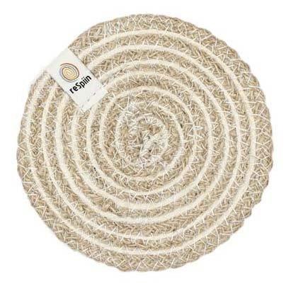 ReSpiin Spiral Jute Natural / White Coaster