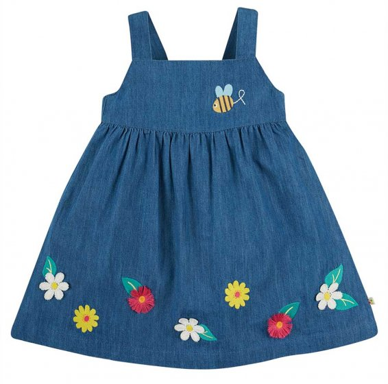 Frugi Hallie india ink blue linen dress with flowers and bee