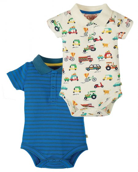 Frugi polo collar toot toot stripe bodies short sleeved