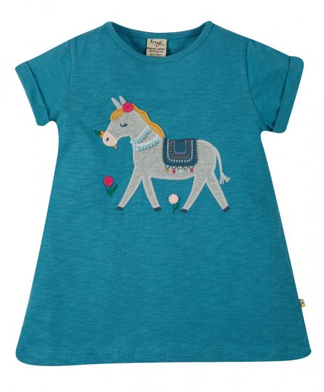 Frugi Ariella top applique yellow haired horse blue saddle