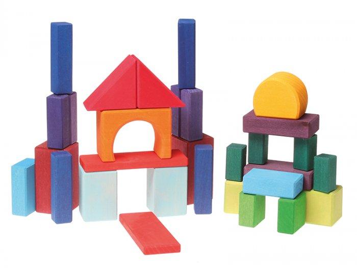 Grimm's 30 Coloured Geo Blocks