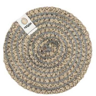 ReSpiin Spiral Jute Natural / Grey Coaster