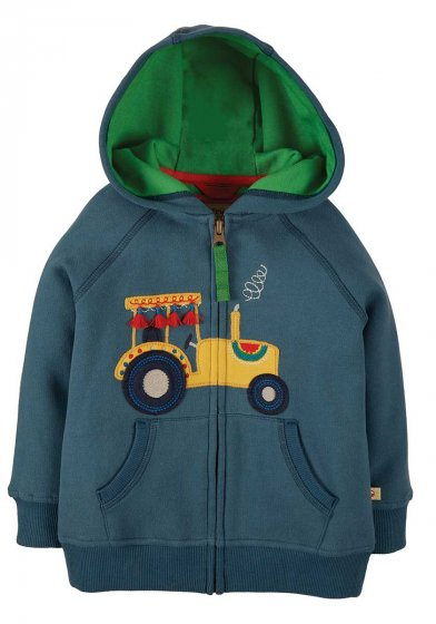 Frugi hayle organic cotton zip up hoodie with applique tractor and green lining